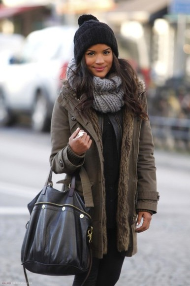 winter coat khaki fur jacket fall green street style scarf hat fashion clothes