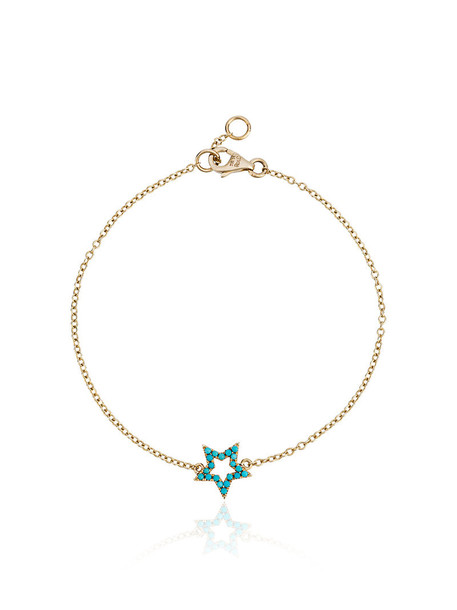 ROSA DE LA CRUZ women charm bracelet gold grey turquoise metallic jewels