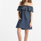 Caroline off the shoulder ruffle denim dress - morning lavender