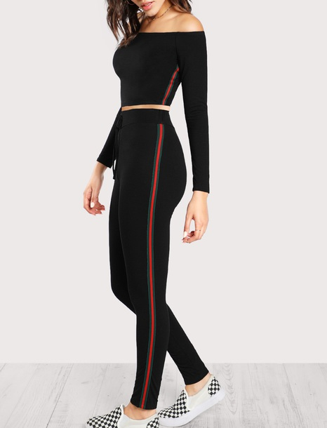 0151b09dc8f pants girly black red green two-piece matching set crop tops crop cropped  off the
