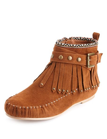 Tribal trim moccasin bootie: charlotte russe