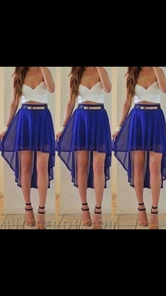 skirt high-low dresses high low dress highlow highlowskirt blue skirt blue summer outfits clubwear going out skirt cobalt blue royal blue royal blue skirt bag shirt