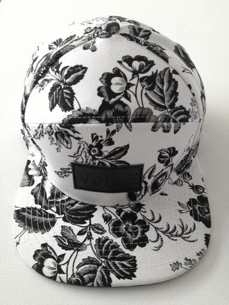 hat black and white snapback flowers