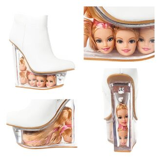 shoes jeffrey campbell barbie clear heels barbie head wedges summer shoes summer time fine white high heels trendy spring outfits spring summer 2014 barbies only girly outfits tumblr fashion girly white platform heels icy doll must have heels high heels