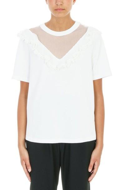 t-shirt shirt t-shirt lace white top