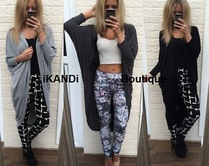 New Ladies Oversized Long Baggy Open Front Cardigan Drape Cape Jacket Top Kimono