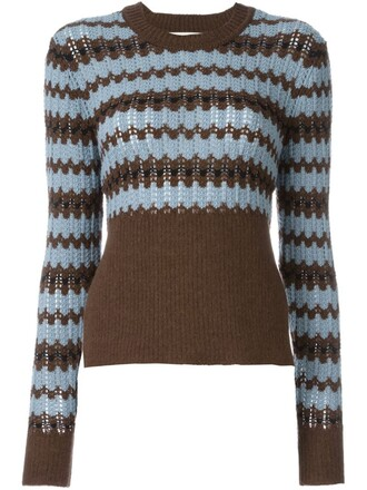 top knitted top geometric blue