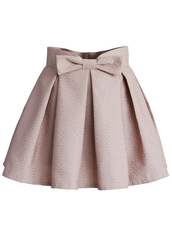 skirt,chicwish,pink skirt,bowknot,mini skirt,jacquard skirt
