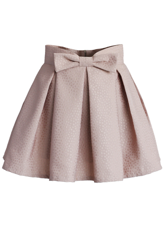 skirt chicwish pink skirt bowknot mini skirt jacquard skirt