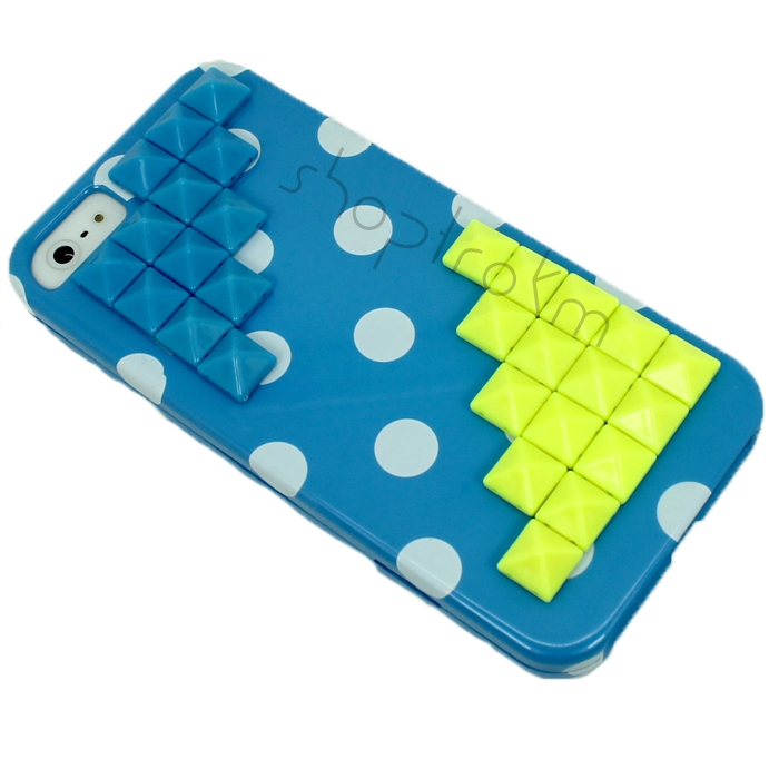 High Contrast Polka Dot Madness iPhone 5 Phone Case In Blue Yellow