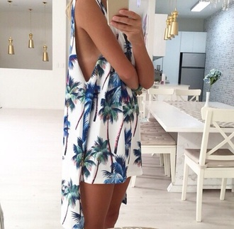 dress blue white short palms black summer
