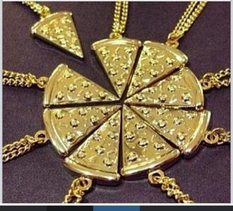jewels bestfriend necklace pizza pieces gold necklace