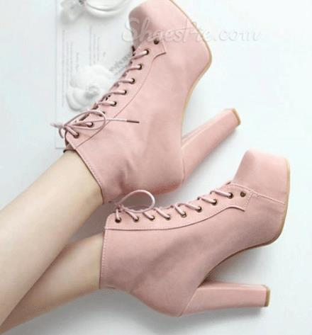 Girl Lace-Up Chunky Heel Platform Ankle Boots