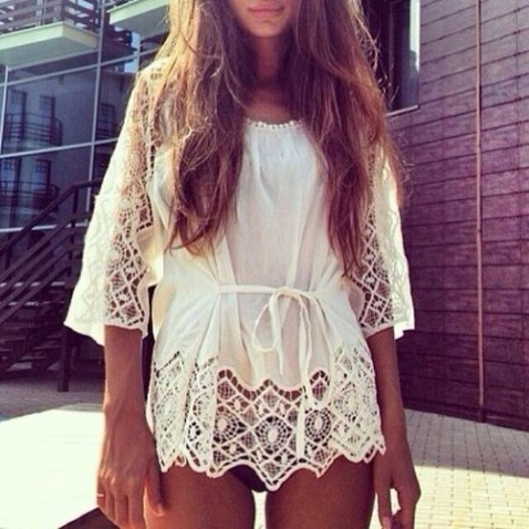 dress white tunic chrochet top