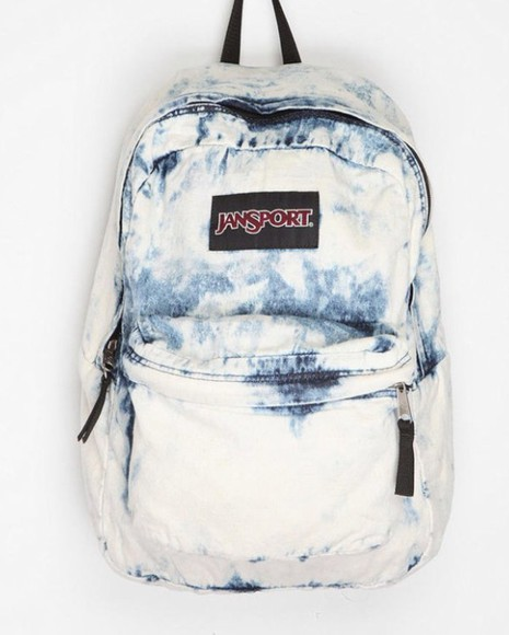 blue denim white bag jansport washed blue school bag school girl