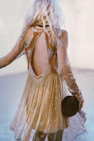 dress gold gold sequins sparkley backless