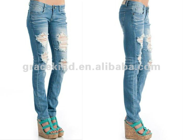 Wholesale Destroyed Sexy Ripped Skinny Jeans Brands For Women(gkk ...