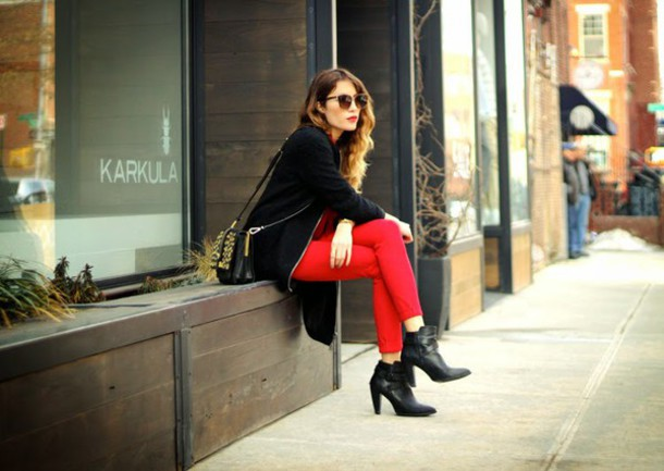 the marcy stop blogger bag red pants black booties black jacket