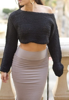 Black Knit Crop Top - JuJu's Closet