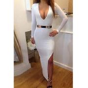 Neck white long sleeve dress with slit_16.54