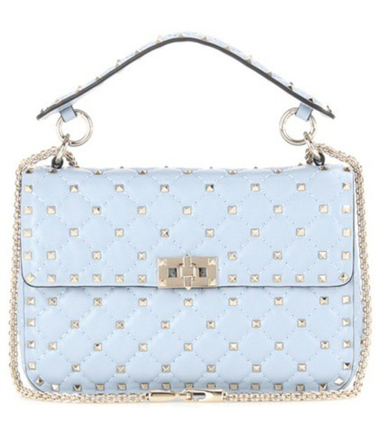 Valentino Rockstud Spike Medium Quilted Leather Handbag in blue