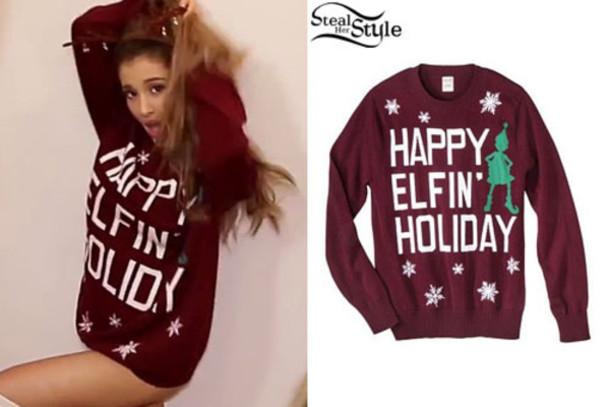 ariana grande christmas sweater sweater happy elfin holiday burgundy sweater