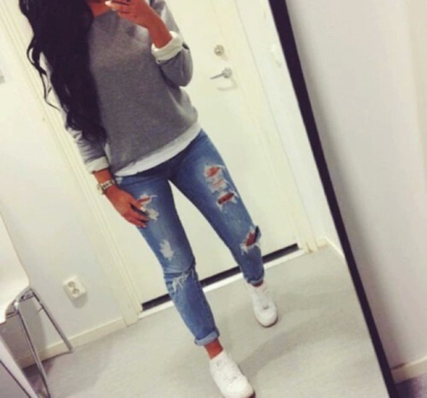 jeans denim hipster blouse ripped jeans women boyfriend jeans shirt sweater cardigan top