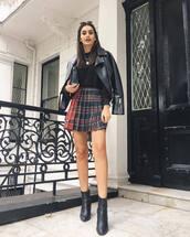 skirt,mini skirt,checkered,pleated skirt,black blouse,ankle boots,leather jacket,biker jacket,clutch,sunglasses,earrings