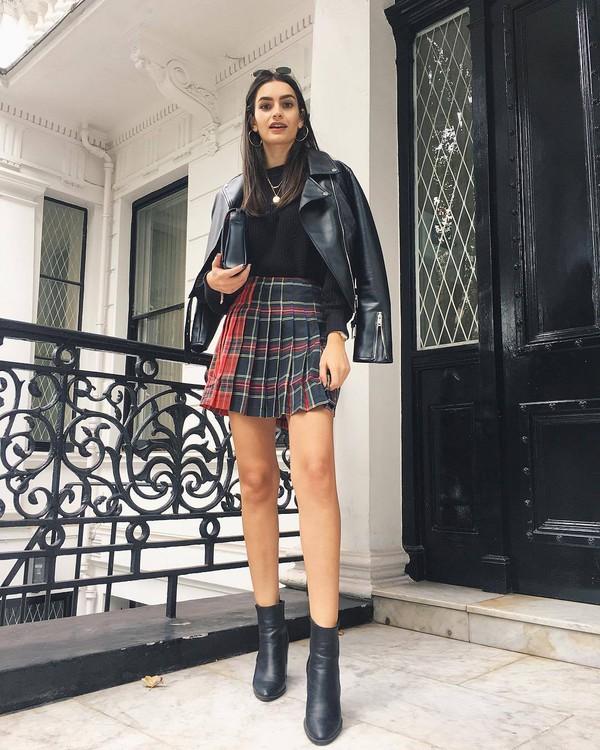 skirt mini skirt checkered pleated skirt black blouse ankle boots leather jacket biker jacket clutch sunglasses earrings