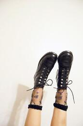 shoes,brown shoes,vintage,lace up boots,underwear,socks,sheer,mesh,floral,DrMartens,grunge,black