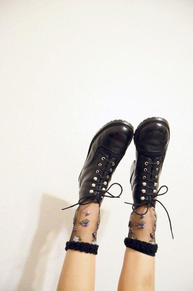 black DrMartens underwear docs grunge socks sheer mesh floral shoes brown shoes vintage lace up boots