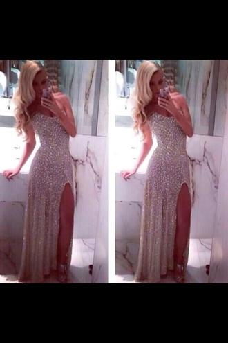 dress prom dress long prom dress sequins sparkles bustier dress long gold slit
