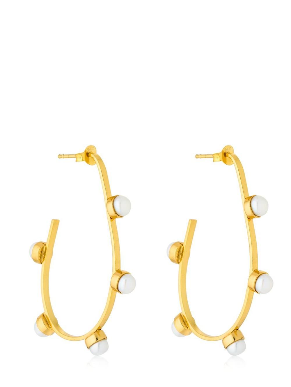 CORNELIA WEBB Pearled Hoop Earrings in gold