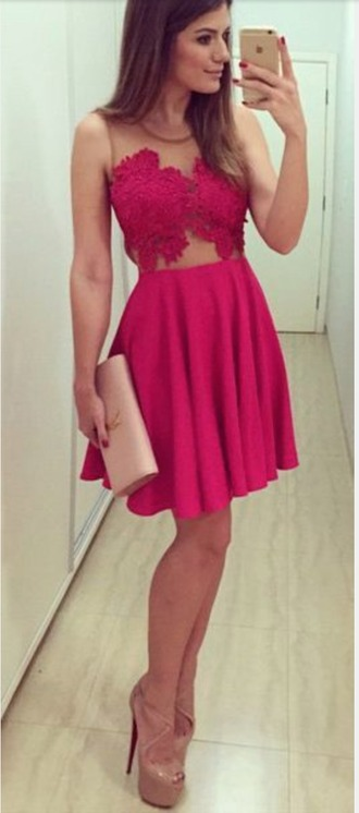 dress homecoming dress hot pink embroidered short dress
