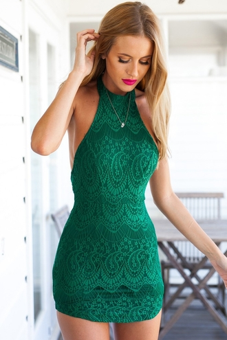 dress zaful halter dress green dress top bottoms skirt clothes backless sexy dress cute dress summer dress beautiful fashion outfit girly green girl summer bodycon bodycon dress lace lace dress green lace green lace dress halter neck lace backless