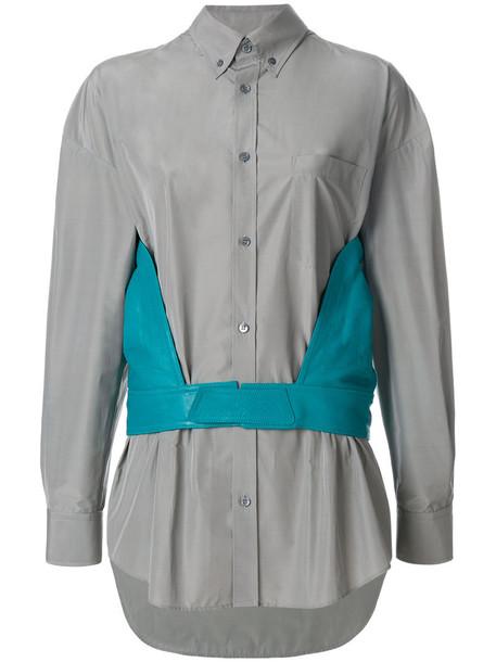 shirt women leather cotton grey top