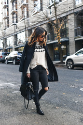 crystalin marie,blogger,sweater,coat,jeans,shoes,bag,winter outfits,black coat,boots,ankle boots,black jeans