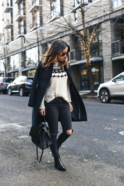 f0531fc70d1 crystalin marie blogger sweater coat jeans shoes bag winter outfits black  coat boots ankle boots black