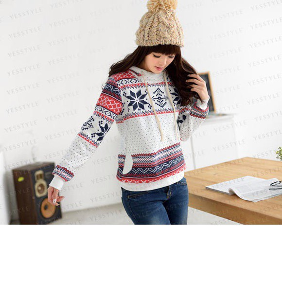 cute christmas sweater aztec pom pom beanie