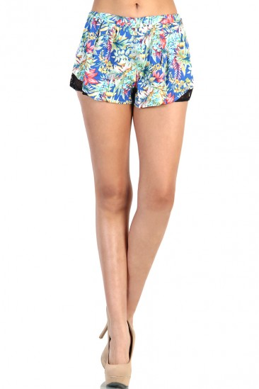 LoveMelrose.com From Harry & Molly | Tropical Lace Short - Blue