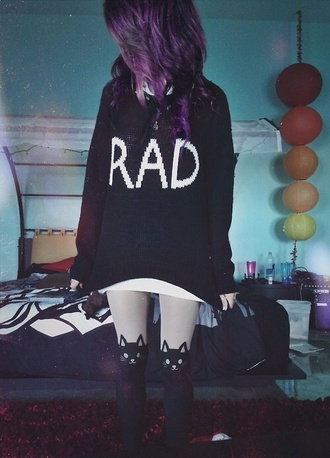 sweater indie scene winter sweater tights cat sweater purple hair rad rad hair day black black sweater cute cute shirt cute tights scene plum