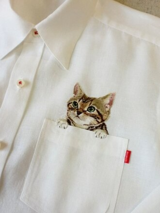 shirt blouse white cats kawaii cat in pocket pockets tumble lovely buttons white blouse