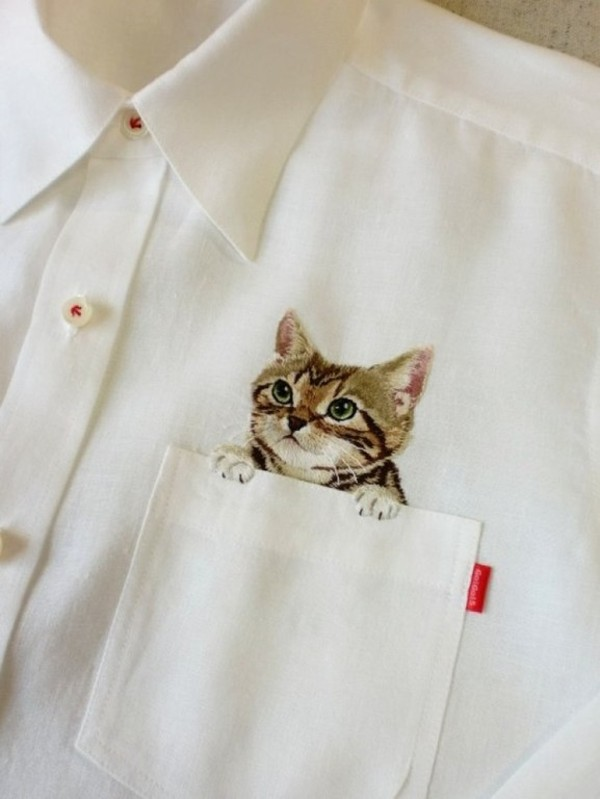 shirt blouse white cats kawaii cat in pocket pockets tumble lovely buttons cats white blouse