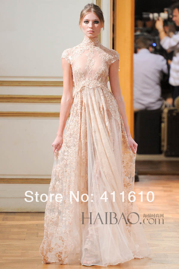 dress zuhair murad champange dress lace dress lace top wedding dress