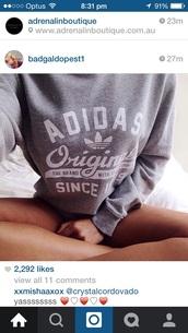 sweater,adidas,adidas originals,grey,white,casual,adidas swearshit,adidas hoodie,grey sweatshit,instagram,sweatshirt,hoodie,shirt,adidas grey pullover,grey sweater