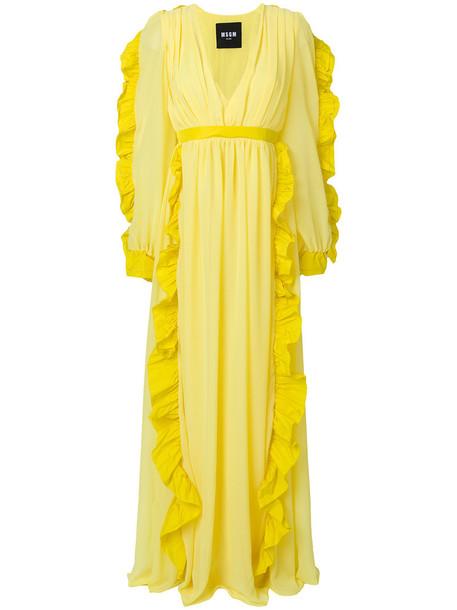 MSGM gown long ruffle women yellow orange dress