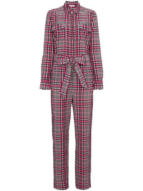 Ganni Charron checked jumpsuit - Pink & Purple