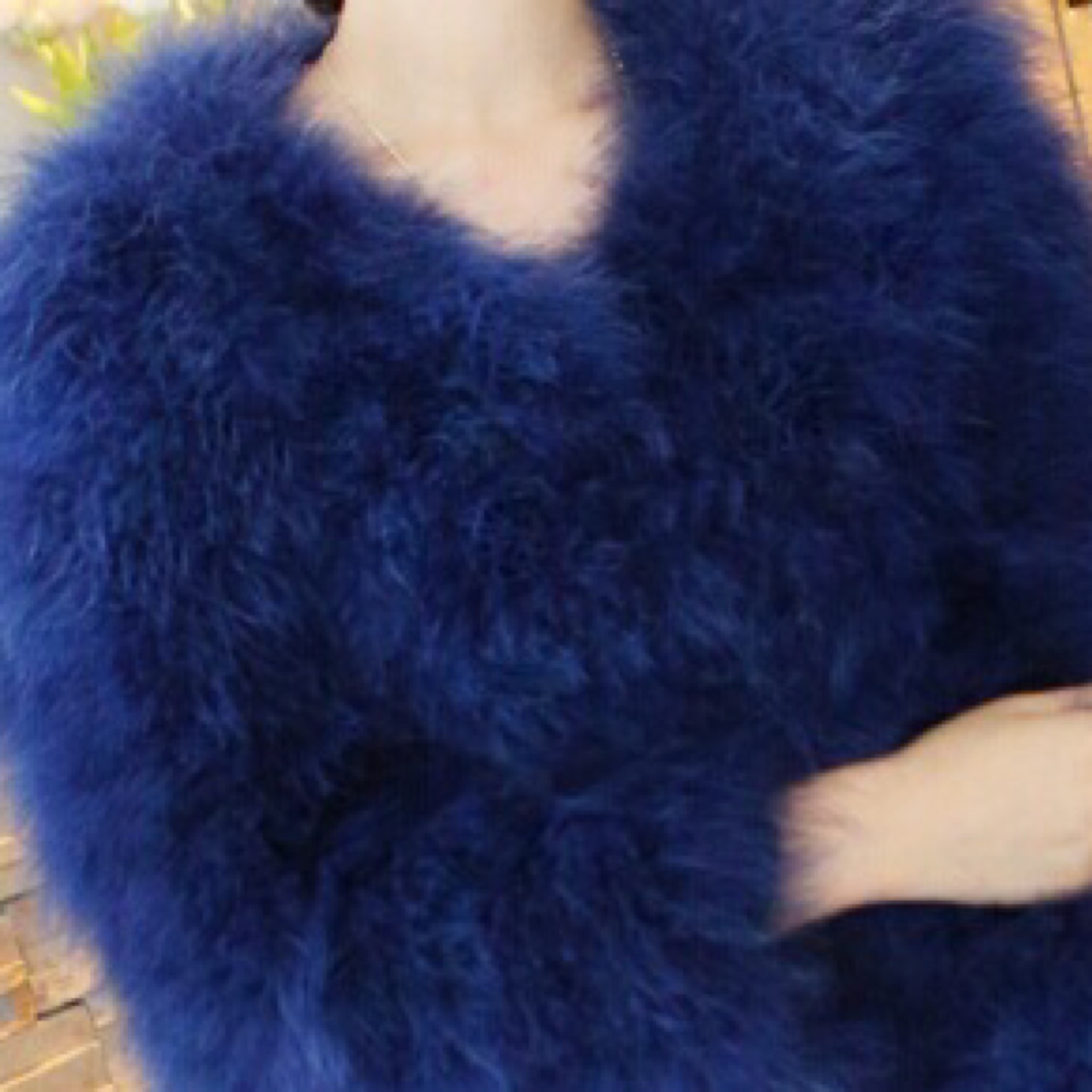025ee59f4fa ALL SIZES AVAILABLE dark royal blue ostrich feather jacket