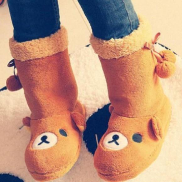 winter boots boots brown shoes rilakkuma kawaii shoes cute shoes adorable kawaii winter outfits fall outfits