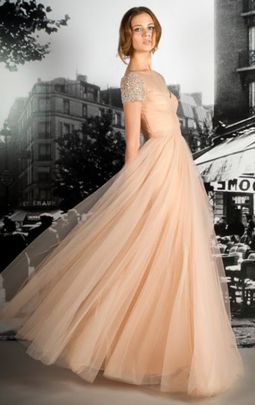 dress peach dress prom peach long dress